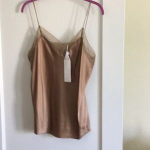 Vince NWT silk camisole size L golden